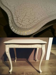 Queen Ann table sprayed with crackle paint - white with a golden underlayer