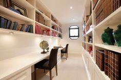 Superbly designed with characteristic flair and class by leading architect Christopher Doyle in this fitted home office Offices, Home Office, Corner Desk, Melbourne, Home Goods, Bookcase, Real Estate, Study, Shelves