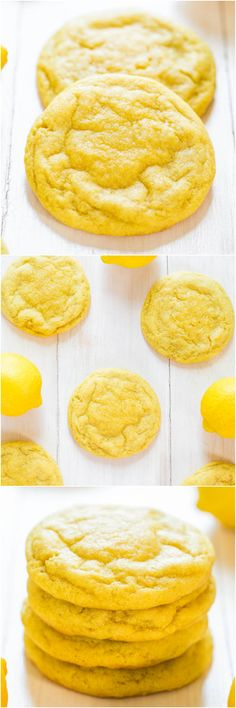 Soft and Chewy Lemon Cookies - Packed with big, bold lemon flavor for all you lemon lovers! They're soft, chewy and not at all cakey!! http://www.averiecooks.com/2014/08/soft-and-chewy-lemon-cookies.html