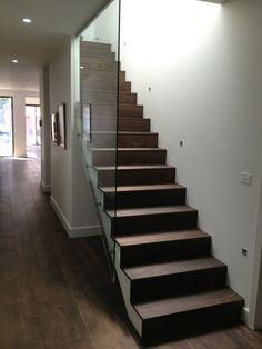 Timber stair with glass balustrade feature Glass Stair Balustrade, Timber Stair, Glass Stairs, House, Home Decor, Homemade Home Decor, Haus, Interior Design, Home Interiors