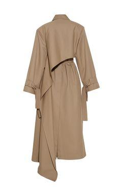 Asymmetric Cotton Trench Coat by Aleksandre Akhalkatsishvili Abaya Fashion, Fashion Dresses, Couture Coats, Mode Unique, Fashion Design Portfolio, Mode Hijab, Clothing Hacks, Fashion Sewing, Fashion Details