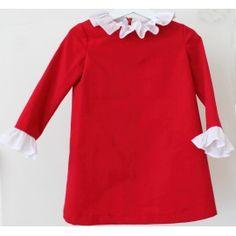 Vestido rojo con volantes en cuello y puños. Red dress with white ruffles