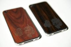 wood veneer backing for iphone that can be custom etched! how cute would this be with arturito's face?!?