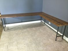 Reclaimed Urban Wood L - Shaped Desk Made From Reclaimed Farm Wood - Gas Pipe Leg Base - Endurovar Finish - Fast Shipping!