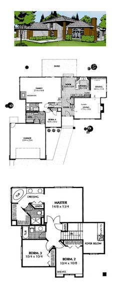 Prairie House Plan 91674 | Total Living Area: 2426 sq. ft., 4 bedrooms and 3 bathrooms. #prairiehome