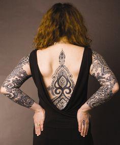 Full back #Black ink arabesque-like #tattoo with similar motives on both arms. Elegant!