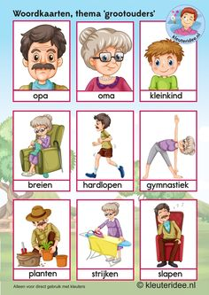 Woordkaarten  voor kleuters, opa en oma, kleuteridee.nl, kinderboekenweek 2016, thema grootouders, free printable. Dutch Language, Language Study, Learn Dutch, Baby Bingo, Family Theme, Special Needs Kids, Grandparents Day, Home Schooling, Science Lessons