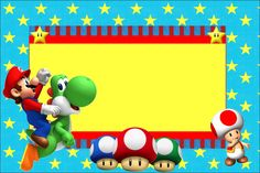 Awesome free birthday party invitation backgrounds for Mario Bros Party