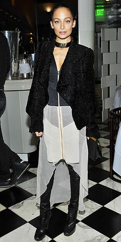 """NICOLE RICHIE She was the Trendsetter of 2013, and judging by her asymmetrical dress, leather pants, draped jacket and choker ensemble at the Antonio Berardi dinner in Beverly Hills, we think Nicole is vying for the style """"Daredevil"""" title of 2014."""