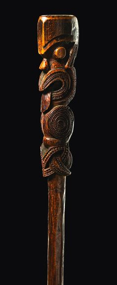 Carved Moai from New Zealand walking stick