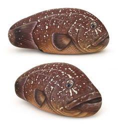Grouper | Painted fish on a rock | Rock painting by Roberto Rizzo | www.robertorizzo.com
