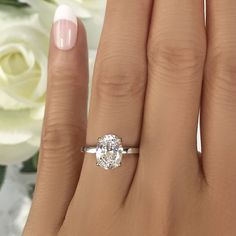 Inventive 2ct Round Cut Diamond Classic Solitaire Engagement Ring 14k White Gold Finish Lustrous Surface Fine Rings
