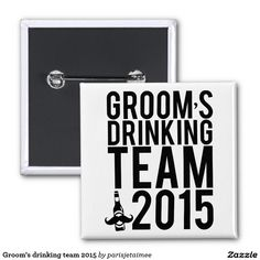#wedding #drinkingteam #groom #bachelorparty #groomsmen #beer #mustache Groom's drinking team 2015 2 inch square button