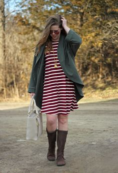 Olive and Maroon is the perfect color combo for fall. Old Navy swing dress with maroon and white stripes, Caslon olive cocoon cardigan, Merrell knee high boots, Dagne Dover tote, Julie Vos pendant   Puppies & Pretties