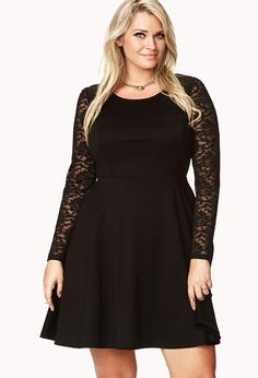 Fancy Lace Sleeve Skater Dress | FOREVER21 PLUS - sizes XL to 3X