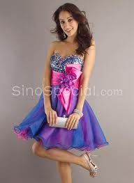 Simple Strapless Sweden Multi-color Ruched Sweetheart Homecoming ...