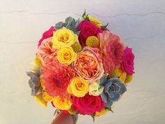 Succulent bright bride bouquet The Rose Shed Jewel Tone Colors, Jewel Tones, Bright Wedding Flowers, July Wedding, Bride Bouquets, Beautiful Bride, Florals, Succulents, Floral Wreath