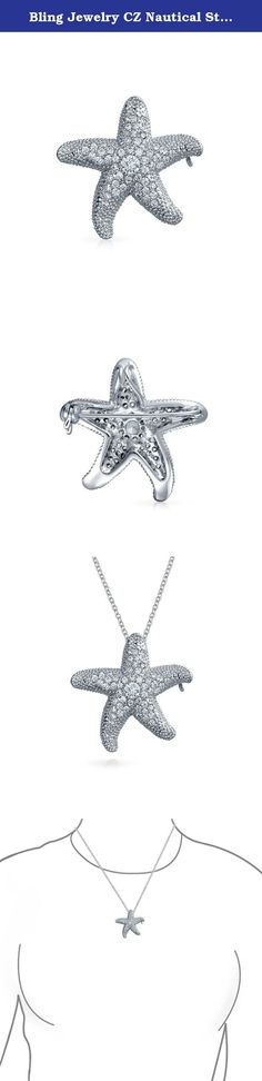 Bling Jewelry CZ Nautical Starfish Brooch Pendant Pin. A starfish brooch with star power. Our cz Starfish Brooch Nautical Pendant Pin is sprinkled with pave CZs and a pendant bail is attached at the back. Our radiant cz starfish brooch doubles as jaunty nautical pendant. A perfect gift for beach and cruise lovers. A cz brooch that would look charming and original as bridal jewelry for a beach wedding. A high end look with an affordable price tag. Buy our nautical starfish brooch today and...
