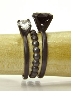 Gemstone Stacking Rings, Black Tie Affair, Sterling Silver Rings with Black Spinel, White Topaz and Bubble Ring. From Abish Essentials on Etsy.com