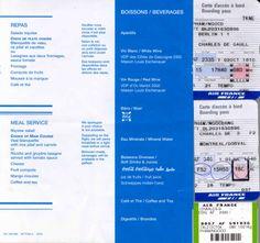 1st Jul 2004 Air France Economy Menu and Boarding Passes - AF-2335 Berlin TXL-Paris CDG AF-346 Paris CDG-Montreal YUL Menu.