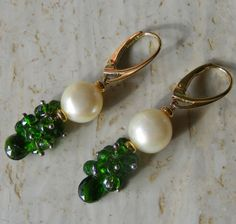 Ancient Roman Inspired Chrome Diopside & Pearl Vermeil Drop Earrings 925 Silver £65.00
