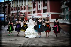 My colorful wedding party - complete with converse! -  In the running for best dressed Disney wedding party! - - http://www.disneyweddingblog.com/2012/02/vote-for-2011-disney-wedding-awards.html