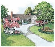 Eplans Landscape Plan - Landscape for Easy Garage Access from Eplans - House Plan Code HWEPL11434