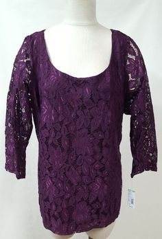 c16444252c3a2 Simply Emma Size 2X Purple Tunic Lace Shirt 3 4 Sleeve Keyhole Back Button