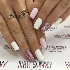 A manicure is a cosmetic elegance therapy for the finger nails and hands. A manicure could deal with just the hands, just the nails, or Nagellack Design, Nagellack Trends, Crazy Nails, My Nails, Glitter Nails, Glitter Shoes, Pink Glitter, Pink White Nails, Cute Pink Nails
