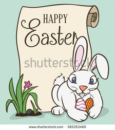 Happy Easter bunny hunting egg outside and a scroll greeting on soft green background.