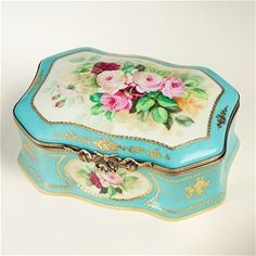 Limoges Turquoise Antique Style Museum Roses Chest The Cottage Shop