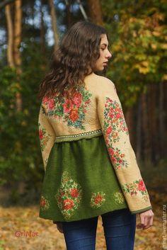 """Купить Валяное пальто""""Варенька"""" - разноцветный, пальто, палантин ручной работы, grinat, наталия гришаева"""