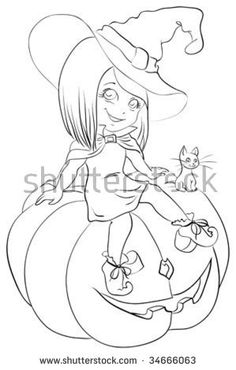 Witch on pumpkin, contour