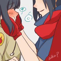 sasuhina naruto uchiha sasuke hinata hyuuga childhood winter hinasasu art by aika-p