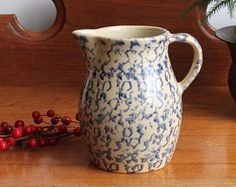 Vintage RRP 1-Quart Blue Spongeware Pitcher - Robinson Ransbottom Pottery - Serving - Ohio Pottery - Made in USA - INSURANCE w/Shipping