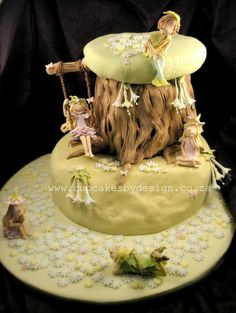 Fairy Tree Swing Cake --- Would love to see this with gnomes on it instead!