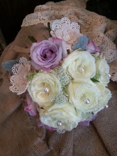 Burlap & Lace flower with pearls and Roses for the unique bridal bouquets