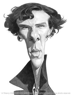 Benedict Cumberbatch (By Thierry Coquele Caricature Artist, Caricature Drawing, Funny Caricatures, Celebrity Caricatures, Cartoon Faces, Funny Faces, Benedict Cumberbatch, Comic Face, Creepy Pictures