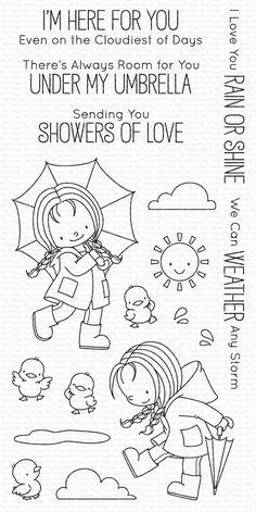 Colorful Umbrellas, Tampons Transparents, Doodles, Under My Umbrella, Card Sentiments, Mama Elephant, Mft Stamps, Drawing For Kids, Digital Stamps