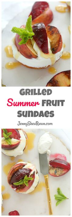 Grilled Summer Fruit Sundaes. Grilled corn muffin tops topped with a dollop of honey yogurt whipped cream, grilled summer peaches and plums and a generous drizzle of honey. The perfect dessert to celebrate summer.   Sponsored by New England Dairy & Food Council.  Summer Desserts | Grilled Desserts | Healthy Summer Desserts | Summer Fruit Desserts | Peach Desserts | Stone Fruit Desserts | Corn Muffins | Kid Friendly