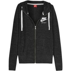 Nike Vintage cotton-blend jersey hooded top, Women's, Size: S ($71) ❤ liked on Polyvore featuring tops, nike tops, grey hoodies, layered tops, grey top and retro hoodies