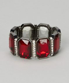 Another great find on #zulily! Silver & Red Crystal Stretch Bracelet by W/A Studios #zulilyfinds