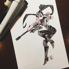 "reb-chan: ""Inktoberwatch Day 2, Widowmaker! She is really fun to draw~ """