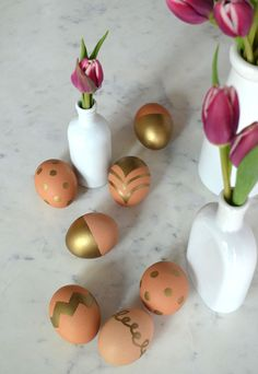 gold sharpies on brown eggs. via waiting on martha.