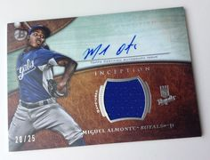 Miguel ALMONTE 2014 Bowman INCEPTION on-card Jersey RELIC and AUTOGRAPH *20/25* #KansasCityRoyals