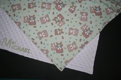 Personalized Soft Minky and Teddy Bears Baby Flannel Blanket