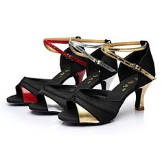 Latin Salsa Customizable Women's Sandals Customized Heel Satin Buckle Dance Shoes (More Colors)