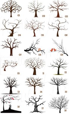 Tree illustrations for painting ideas. Awesome examples! I like the twirly tree branches. Renee' Behrens. Please also visit www.JustForYouPropheticArt.com for more painting ideas.