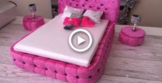 Barbie House Furniture, Doll Furniture, Baby Doll Crib, Doll Bunk Beds, Barbie Bedroom, American Girl Doll Bed, Diy Bed, Diy Dollhouse, Doll Crafts