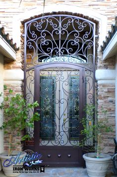 Papillion - Scrolled Wrought Iron Entryway with Kickplate - Model: EW0377B
